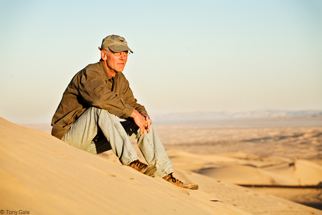 David Zimmerman, photographer. Photographed at the Imperial Sand Dunes, © Tony Gale