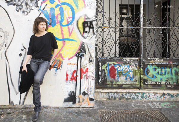 Elodie Belmar, in front of Serge Gainsbourg's home. © Tony Gale