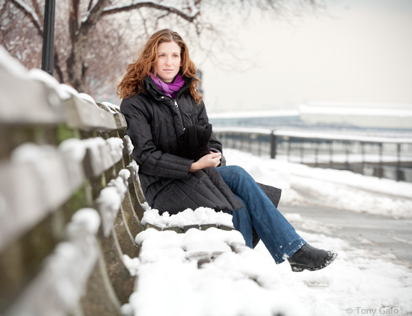 Ariane Reinhart, photographed on her mother's bench in Riverside Park. ©Tony Gale